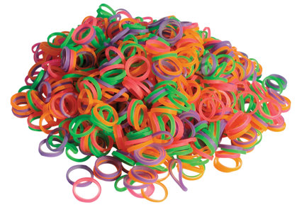 Show Tech Latex Bands Neon Mixed - 100 pcs Top Knot Bands - MEDIUM