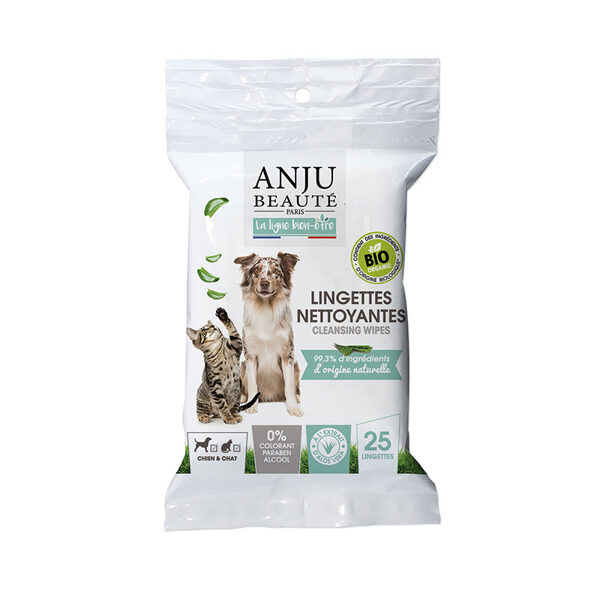 Anju Beaute Cleansing Wipes, 25 gb - viegli aromatizētas mitrās salvetes suņiem un kaķiem