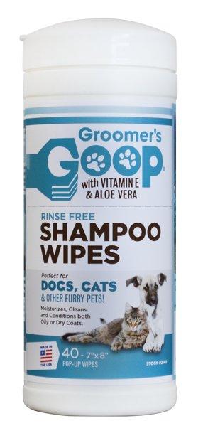 Groomer`s Goop Rinse Free Shampoo Wipes, 40 gb - mitrās salvetes