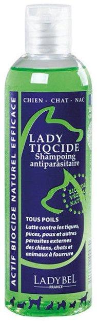 Ladybel Lady Tiqcide Shampoo, 200 ml - pretparazītu šampūns ar geraniolu, kas der jebkura tipa garai un īsai spalvai