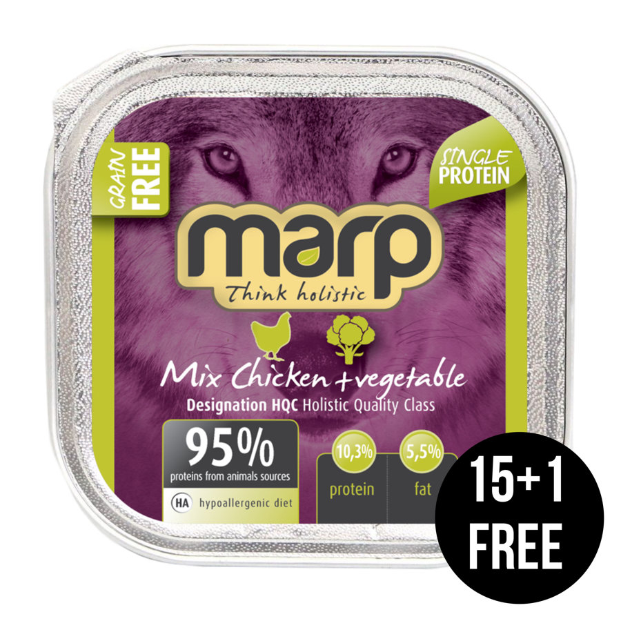 Marp Think Holistic Mix Chicken with Vegetables - ar vistu un dārzeņiem, 16x100g (15+1 bezmaksas)