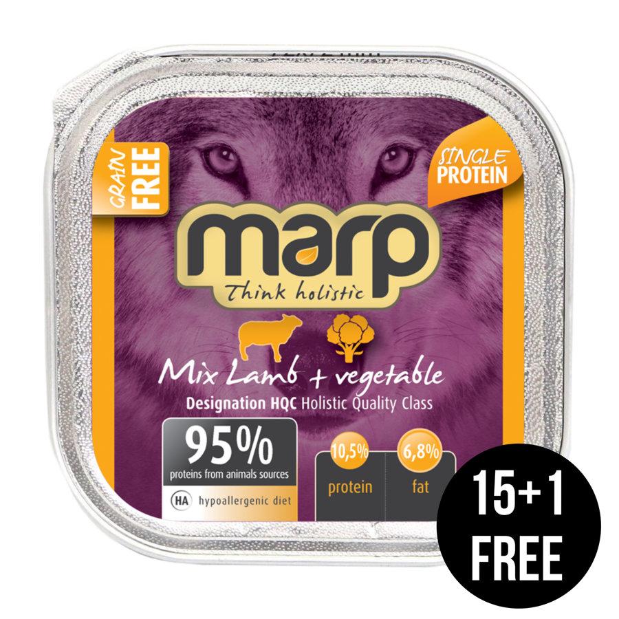 Marp Think Holistic Mix Lamb with Vegetables - ar jēru un dārzeņiem, 16x100g (15+1 bezmaksas)