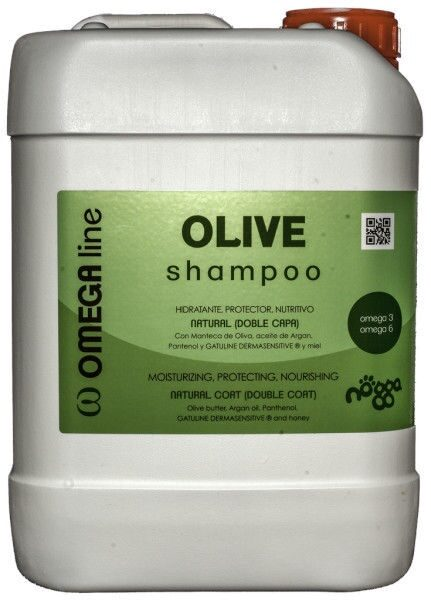 Nogga Omega Line Olive Shampoo, 5000 ml - Ļoti mitrinošs un barojošs šampūns divslāņu tipa kažokam